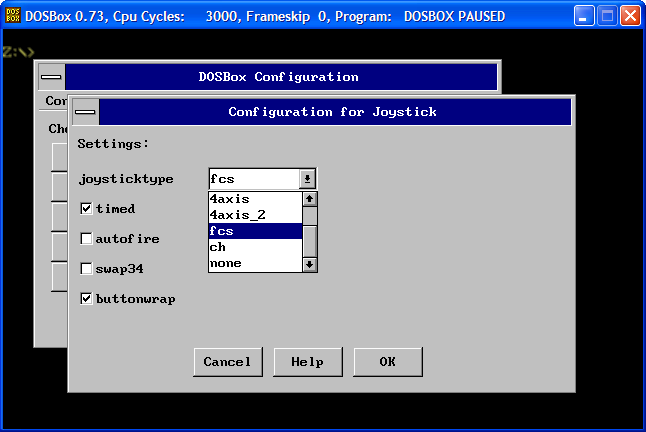 Screenshot of DOSBox GUI