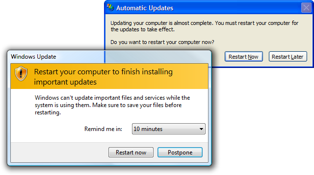 Restart your computer to finish installing important updates