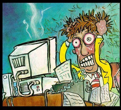 Cartoon of frustrated computer user