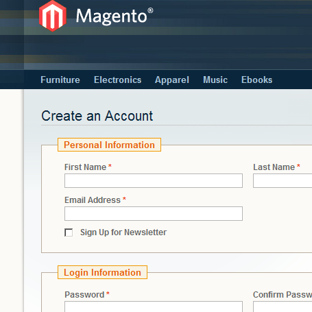 Magento account creation form