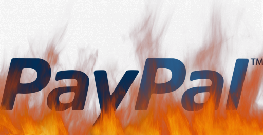 PayPal logo on fire