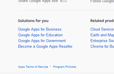 Screenshot of links to Google Apps products