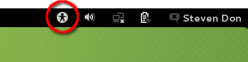 Accessibility icon prominently in Gnome top panel