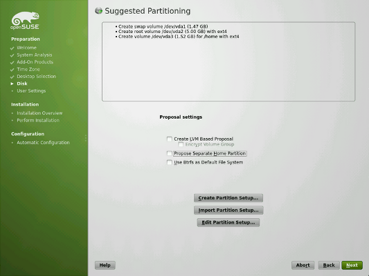 openSUSE Installer: disk partitioning