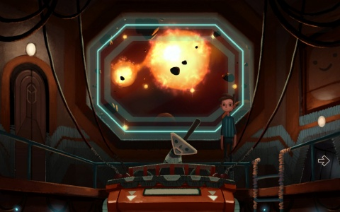 Gameplay scene from Broken Age: Shay arriving at Prima Doom