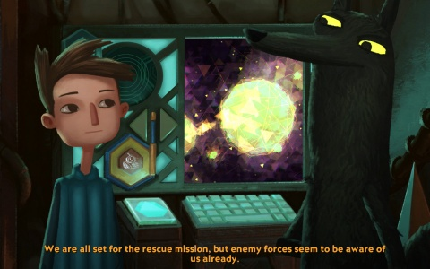 Gameplay scene from Broken Age: All set for the rescue mission