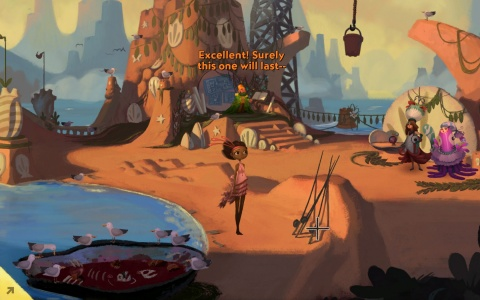 Gameplay scene from Broken Age: Vella in Shellmound