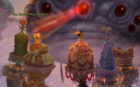 Gameplay scene from Broken Age: Vella being sacrificed to Mog Chothra