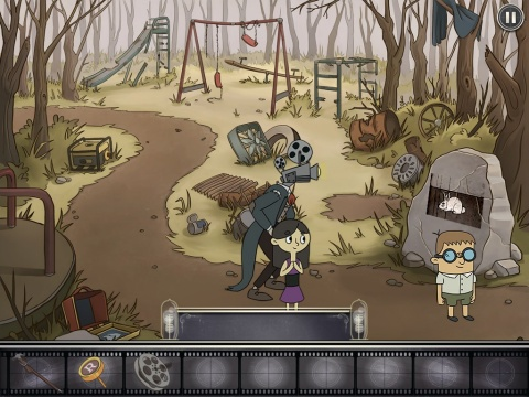 Gameplay scene from Projector Face: Showing a movie on the playground
