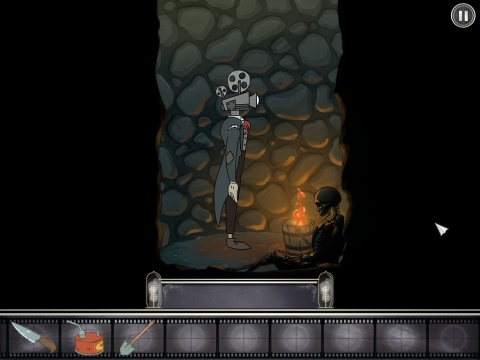 Gameplay scene from Projector Face: Stuck down a well