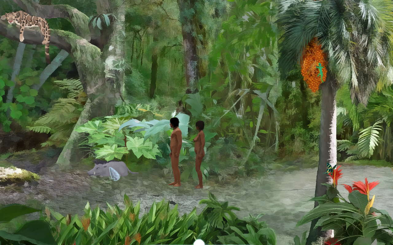 Screenshot showing the characters in a lush jungle landscape