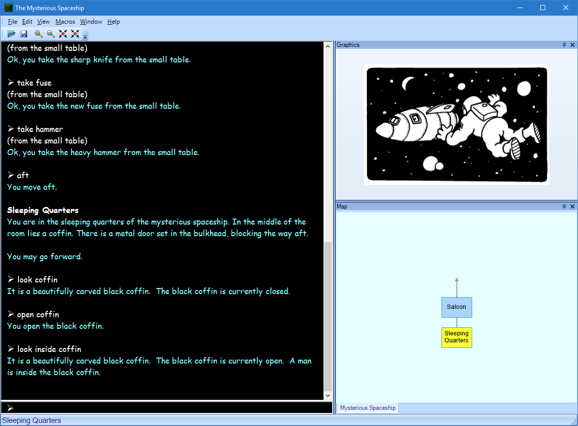 Screenshot of a text adventure