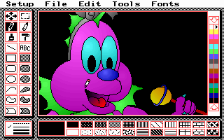PC Paint editing the intro screen for Cosmo Dragon in VGA mode
